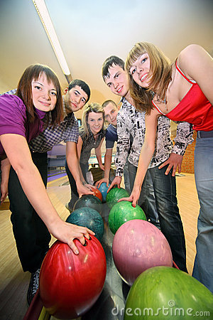 Six friends are taken by balls in bowling club