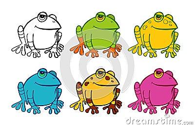 Six frog icons