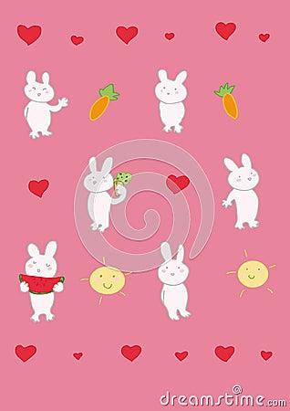 Six funny rabbits