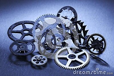 Six gears on cyan