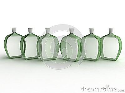 Six glass bottles of green glass №1