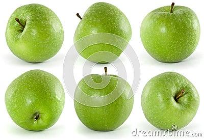 Six green apples