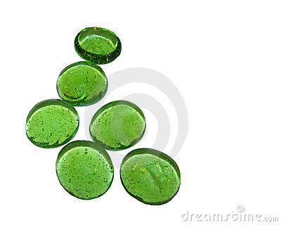 Six Green Glass Pebbles