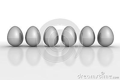 Six Grey Metallic Eggs in a Line