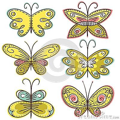 Six hand draw butterflies, vector