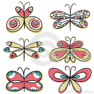 Six hand draw butterflyies, vector