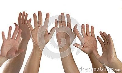Six Hands Raised