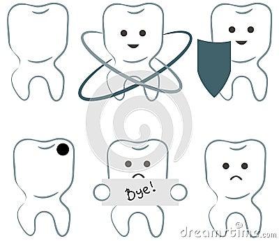 Six icons of teeth