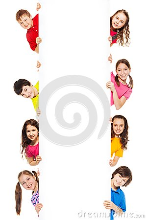 Free Six Kids Looking From Blank Billboard Royalty Free Stock Photography - 29738357