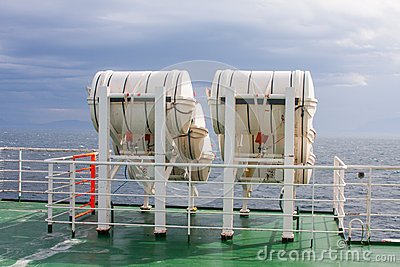 Life-saver barrels on ferry