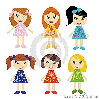 Six little girls on white