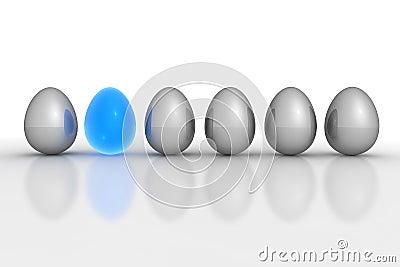 Six Metallic Eggs - Grey Blue Translucent