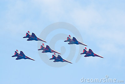 Six MiG-29 jets from Strizhi team Editorial Photography