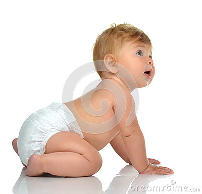 Free Six Month Infant Child Baby Toddler Sitting In Diaper Looking At Stock Photos - 68232883
