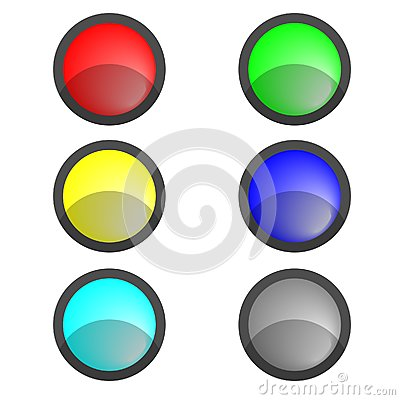 Six multi-coloured buttons