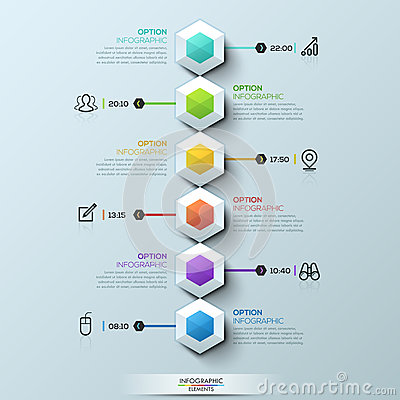 Free Six Multicolored Hexagons Connected With Text Boxes And Pictograms, Infographic Design Template Royalty Free Stock Image - 93300236