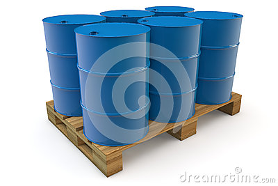 Six oil barrels on pallet
