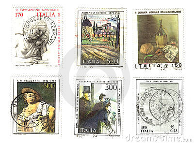 Six old italian stamps