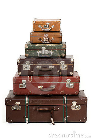 Six old suitcases