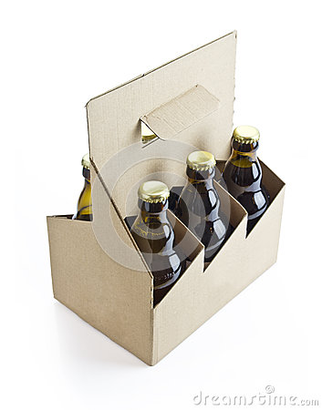 Six pack beer with clipping path