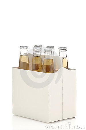 Six Pack of Clear Beer Bottles