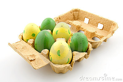 Six painted easter eggs in a egg carton