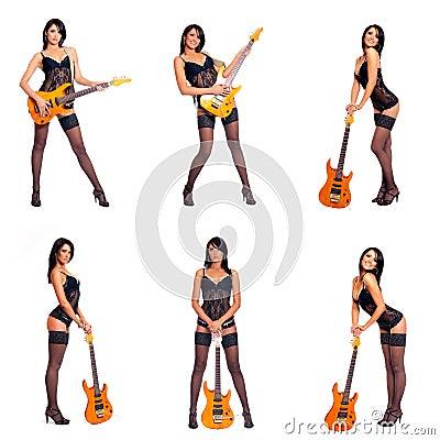 Femme Guitare Banque D'Images, Vecteurs Et Illustrations