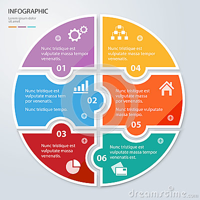 Free Six Piece Flat Puzzle Round Infographic Presentation. Circle Business Diagram. Royalty Free Stock Photo - 78191605