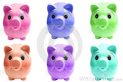 Six pigs piggy bank
