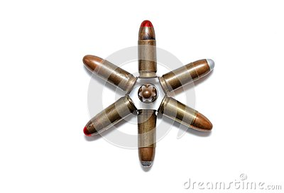 Six-pointed star of 9mm cartridges isolated