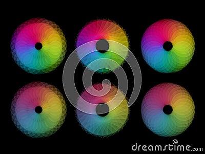 Six rainbow color circular shapes