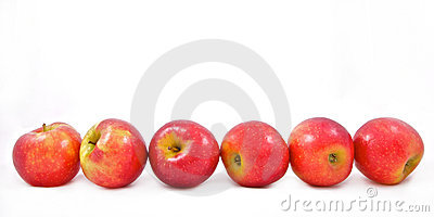 Six red apples in a row