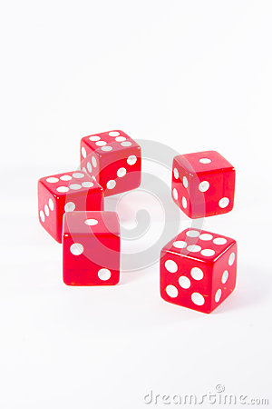 Six red dice for play