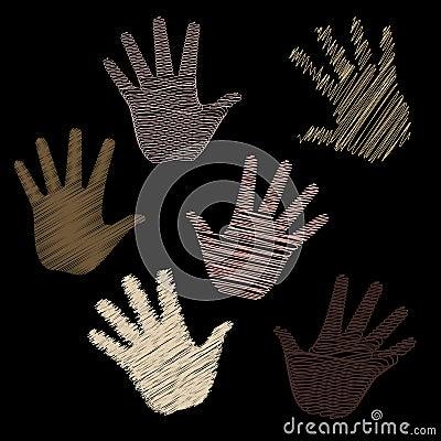 Six Scribbled Hands