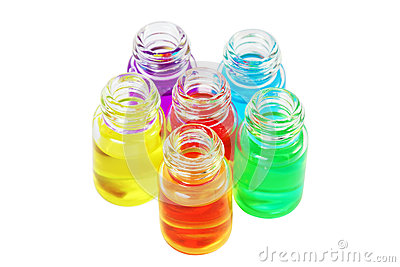 Six small bottles of aromatic oils