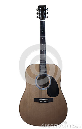 Six-string guitar on white background
