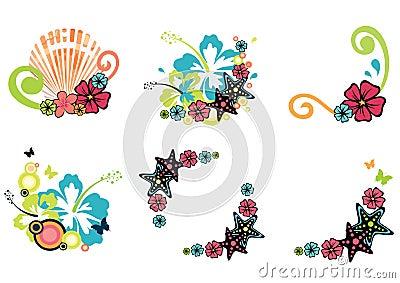 Six summer illustrations