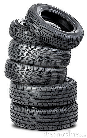 Free Six Tires On The White Background Royalty Free Stock Photo - 23835675