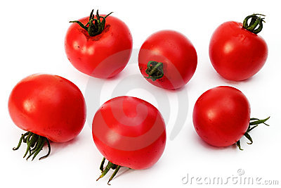 Six tomatoes on a white background