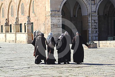 Six traditionally dressed women, Temple Mount