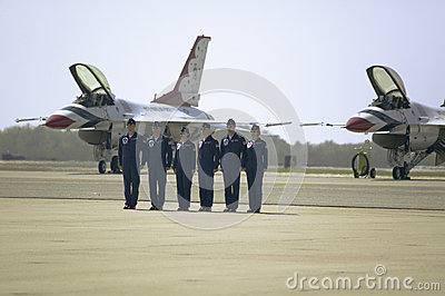 Six US Air Force male and female pilots Editorial Image