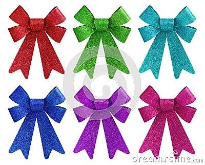 Six vibrant colors glitter gift bow set