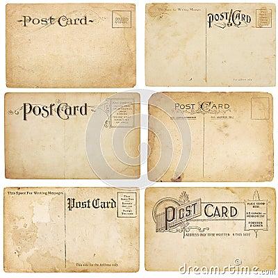 Six Vintage Unstamped Post Cards