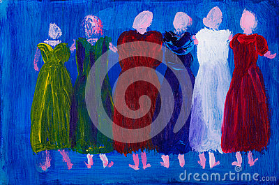 Six women in dresses painting