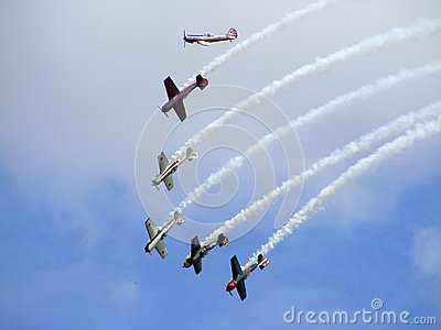 Six yak-50 during airshow Editorial Image