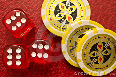 Sixes Dice and Poker Chips