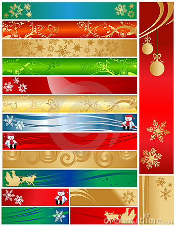 Free Sixteen Colorful Christmas Holiday Banners Royalty Free Stock Photo - 9315755