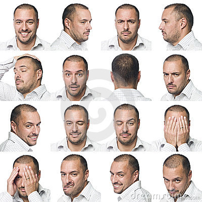 Sixteen facial expressions of a man