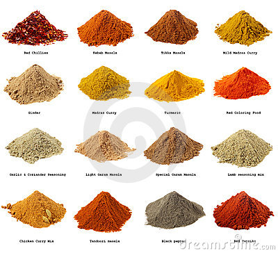 Sixteen piles of Indian powder spices