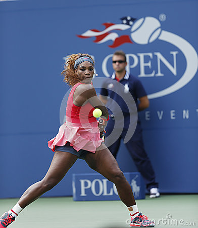 Sixteen times Grand Slam champion Serena Williams during her third round match at US Open 2013 against Yaroslava Shvedova Editorial Stock Photo